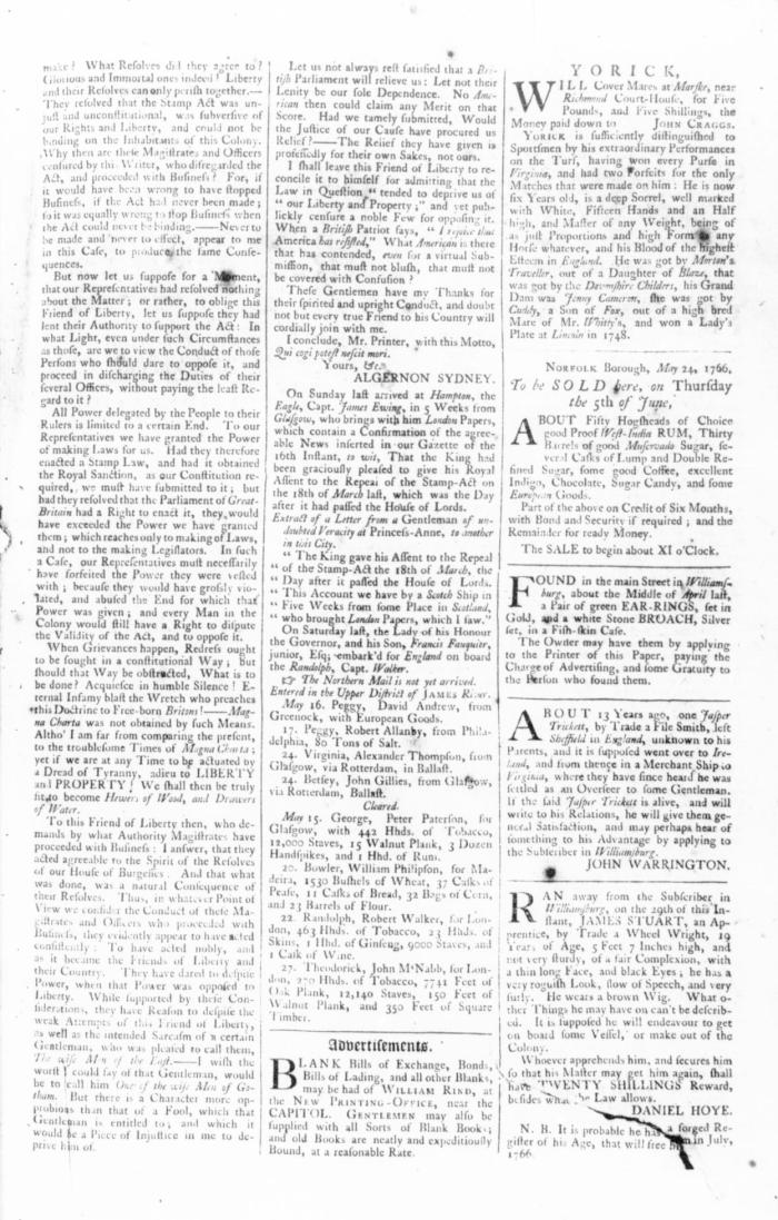 May 31 - 5:30:1766 Rind's Virginia Gazette 3rd page