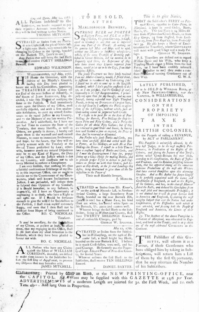 May 31 - 5:30:1766 Rind's Virginia Gazette