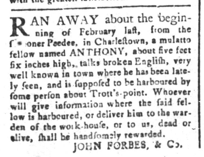 Apr 3 - South-Carolina and American General Gazette Slavery 1