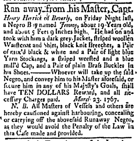 Apr 6 - Boston Evening-Post Slavery 2
