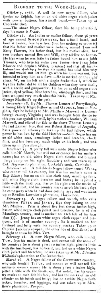 Apr 7 - South Carolina Gazette and Country Journal Slavery 12
