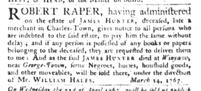 Apr 7 - South Carolina Gazette and Country Journal Slavery 4