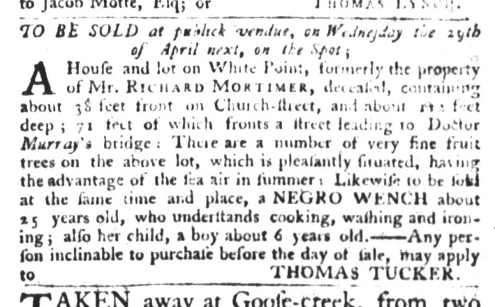 Apr 7 - South Carolina Gazette and Country Journal Slavery 5
