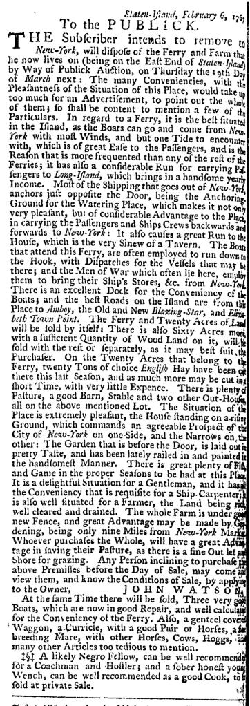Mar 12 - New-York Gazette Weekly Post-Boy Slavery 1