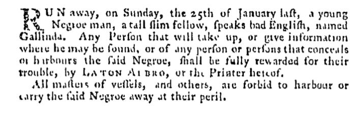 Mar 12 - Pennsylvania Gazette Supplement Slavery 1