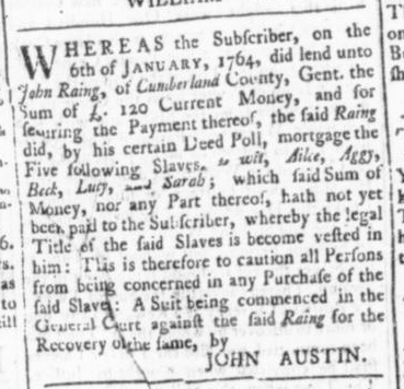 Mar 12 - Virginia Gazette (Rind) Slavery 3