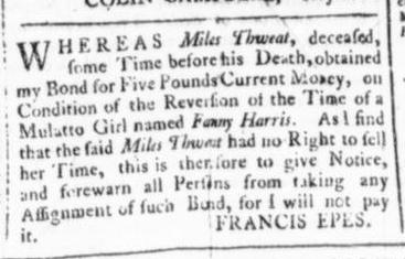 Mar 12 - Virginia Gazette (Rind) Slavery 4