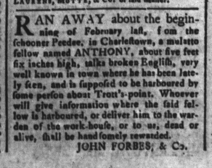 Mar 13 - South-Carolina and American General Gazette Slavery 1