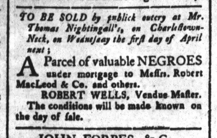 Mar 13 - South-Carolina and American General Gazette Slavery 2