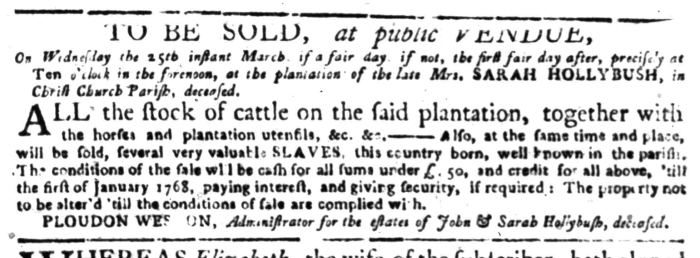 Mar 16 - South Carolina Gazette Supplement Slavery 5