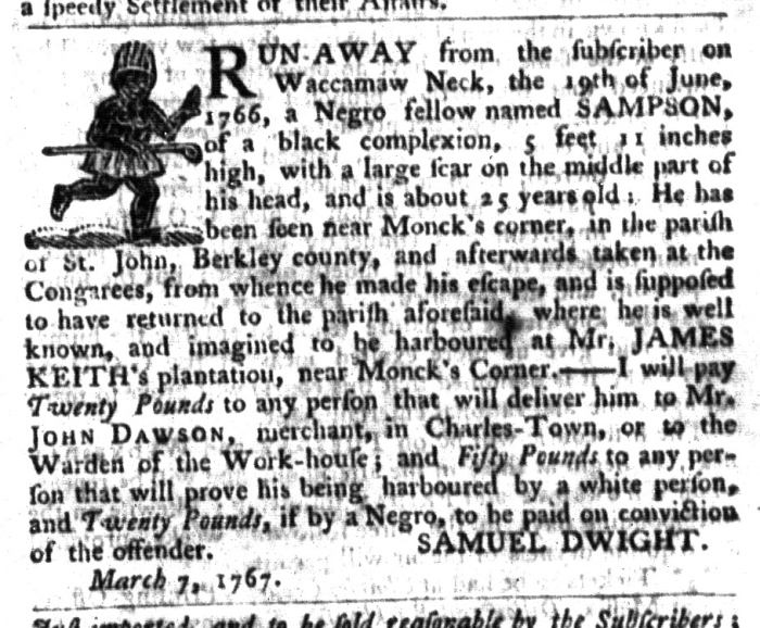 Mar 17 - South-Carolina Gazette and Country Journal Supplement Slavery 3