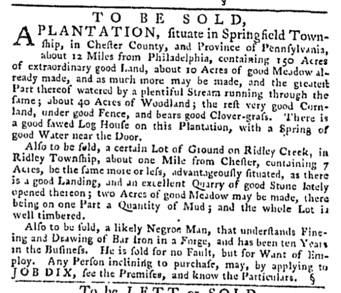 Mar 19 - Pennsylvania Gazette Slavery 1