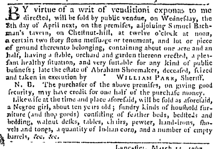 Mar 19 - Pennsylvania Gazette Slavery 2