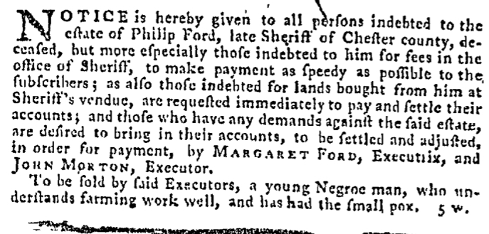 Mar 19 - Pennsylvania Gazette Supplement Slavery 3