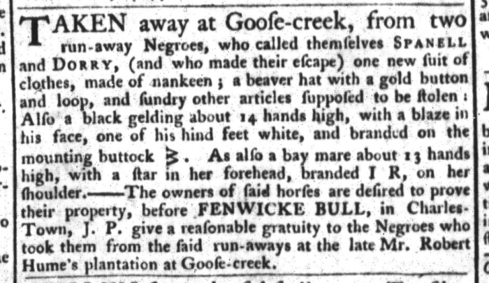 Mar 24 - South-Carolina Gazette and Country Journal Slavery 3