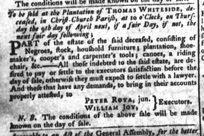 Mar 24 - South-Carolina Gazette and Country Journal Slavery 7