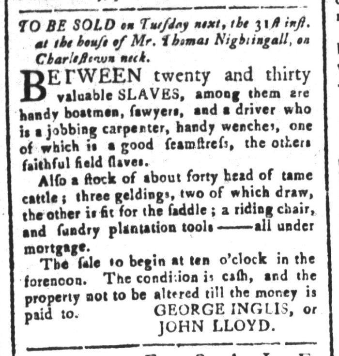 Mar 27 - South-Carolina and American General Gazette Slavery 3