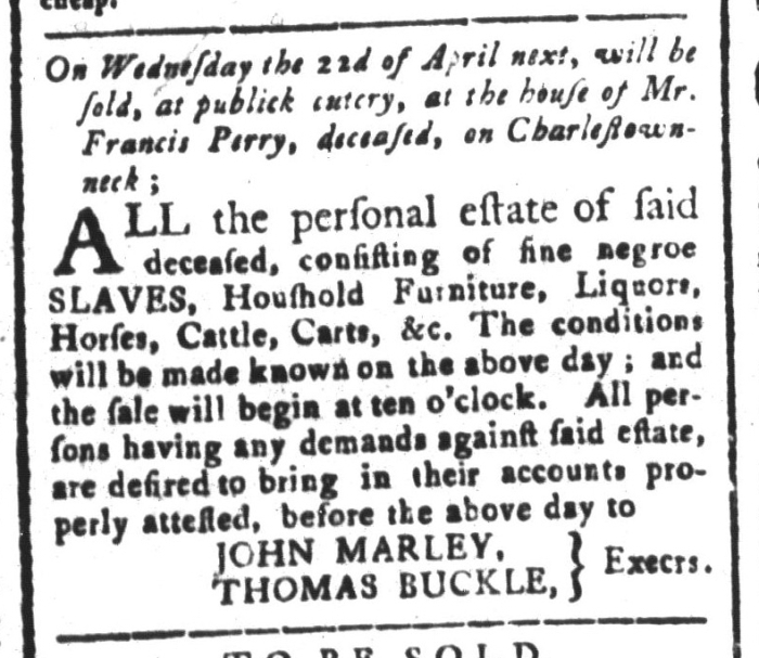Mar 27 - South-Carolina and American General Gazette Slavery 4