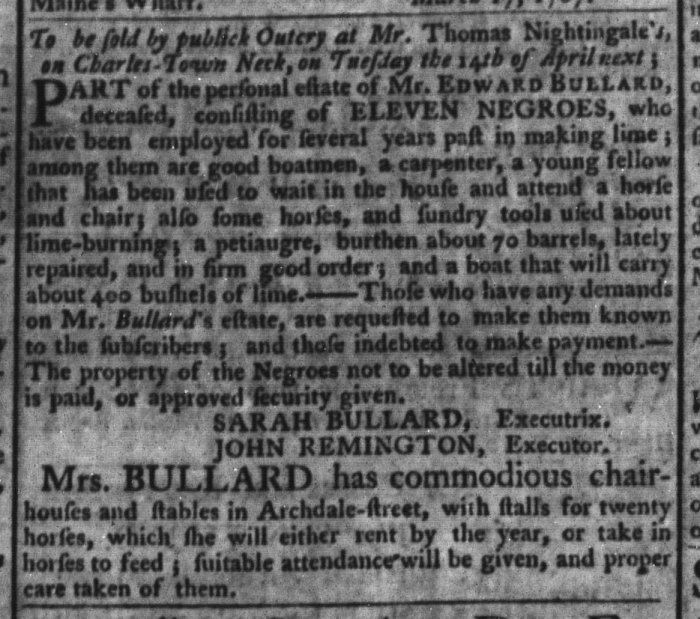 Mar 31 - South-Carolina Gazette and Country Journal Slavery 9