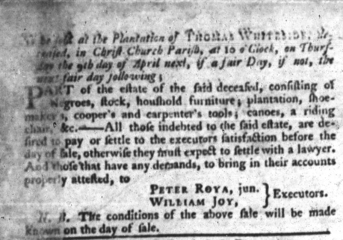 Mar 31 - South-Carolina Gazette and Country Journal Supplement Slavery 4