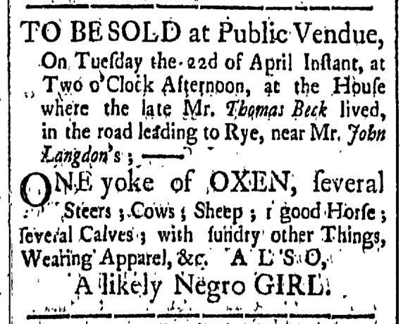 Apr 10 - New-Hampshire Gazette Slavery 1