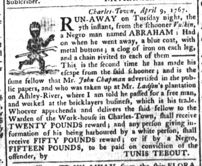 Apr 14 - South-Carolina Gazette and Country Journal Slavery 4