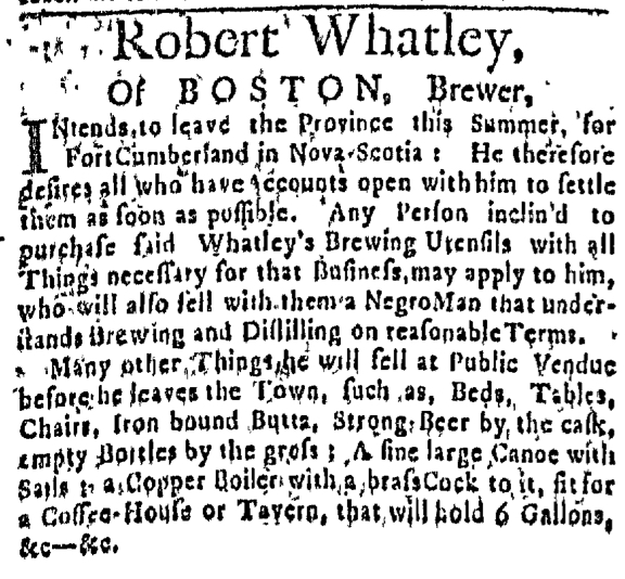 Apr 16 - Massachusetts Gazette Slavery 1