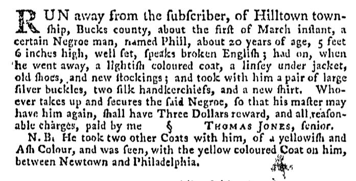 Apr 16 - Pennsylvania Gazette Supplement Slavery 3