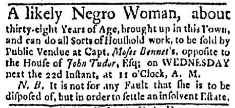Apr 20 - Boston Evening-Post Slavery 1