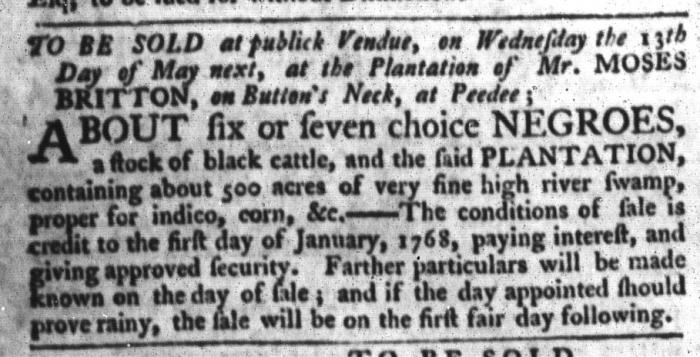 Apr 21 - South-Carolina Gazette and Country Journal Slavery 9