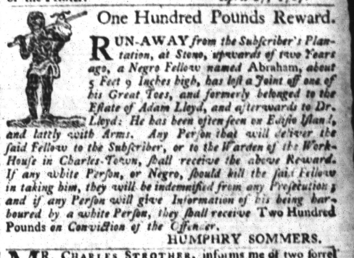 Apr 28 - South-Carolina Gazette and Country Journal Slavery 7