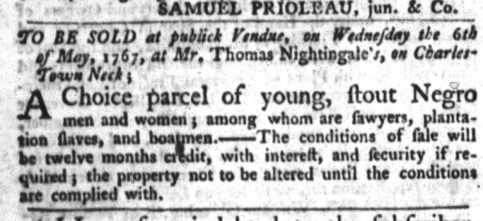 Apr 28 - South-Carolina Gazette and Country Journal Slavery 8