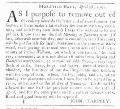 Apr 30 - Virginia Gazette Slavery 1