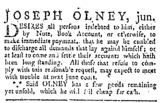 Apr 4 - 4:4:1767 Providence Gazette
