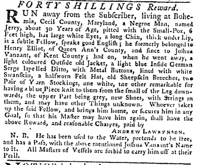 Apr 9 - Pennsylvania Gazette Slavery 1