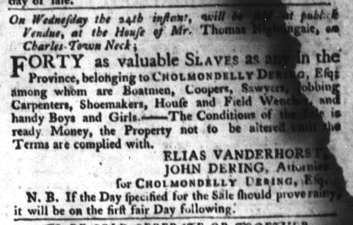 Jun 2 - South-Carolina Gazette and Country Journal Slavery 1
