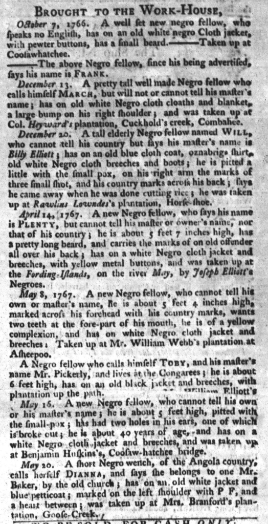 Jun 2 - South-Carolina Gazette and Country Journal Supplement Slavery 1