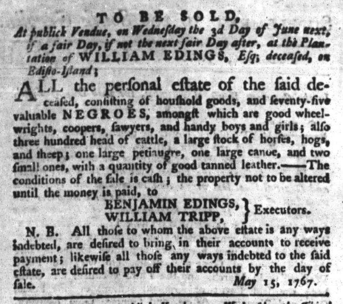 Jun 2 - South-Carolina Gazette and Country Journal Supplement Slavery 3