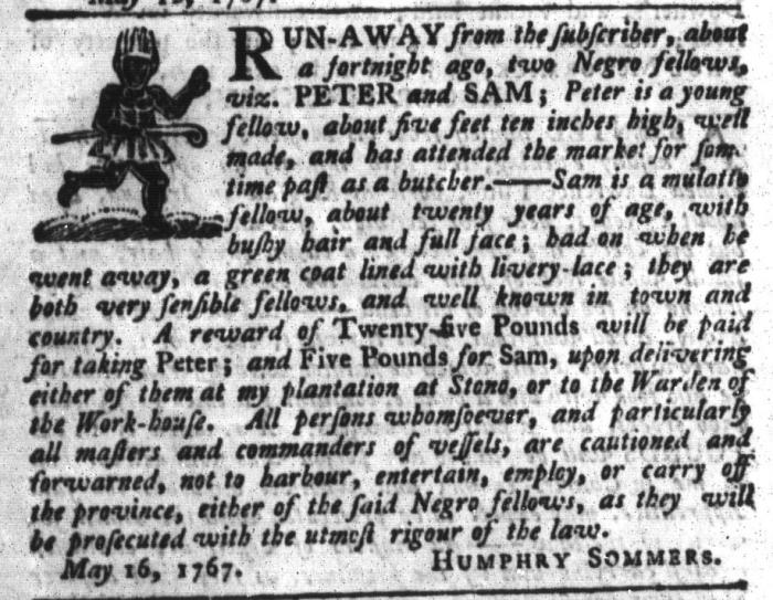 Jun 2 - South-Carolina Gazette and Country Journal Supplement Slavery 6