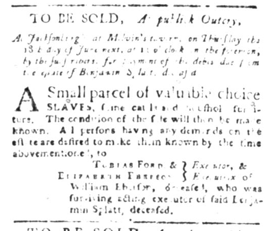 May 11 - South Carolina Gazette Slavery 1
