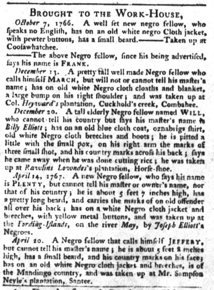 May 19 - South-Carolina Gazette and Country Journal Supplement Slavery 4