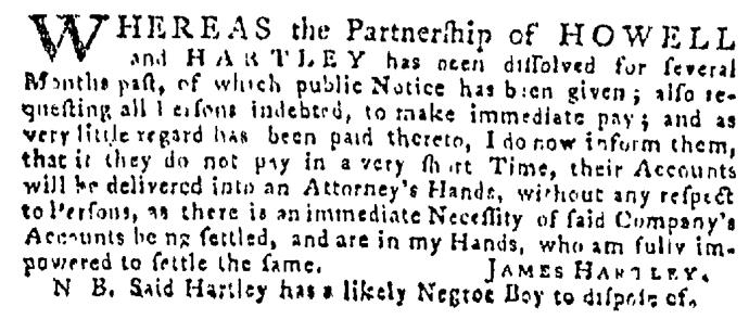 May 21 - Pennsylvania Gazette Supplement Slavery 2