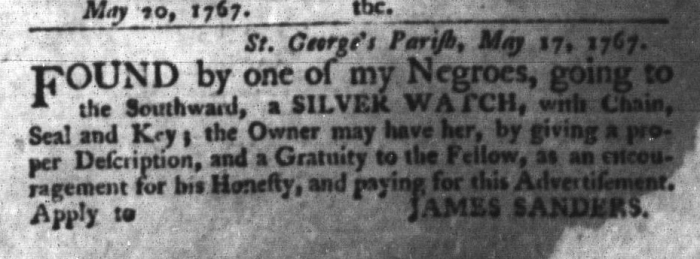 May 26 - South-Carolina Gazette and Country Journal Slavery 12