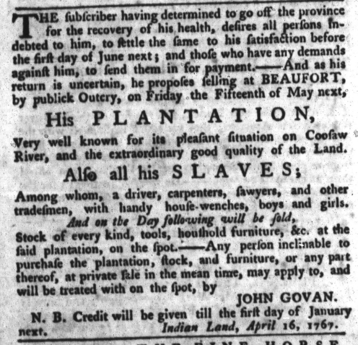 May 5 - South-Carolina Gazette and Country Journal Slavery 2