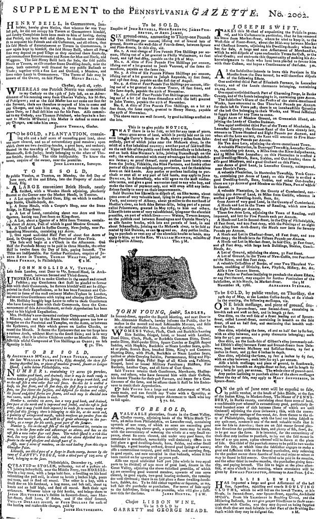 May 7 - 5:7:1767 Pennsylvania Gazette