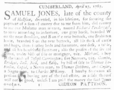 May 7 - Virginia Gazette Slavery 1