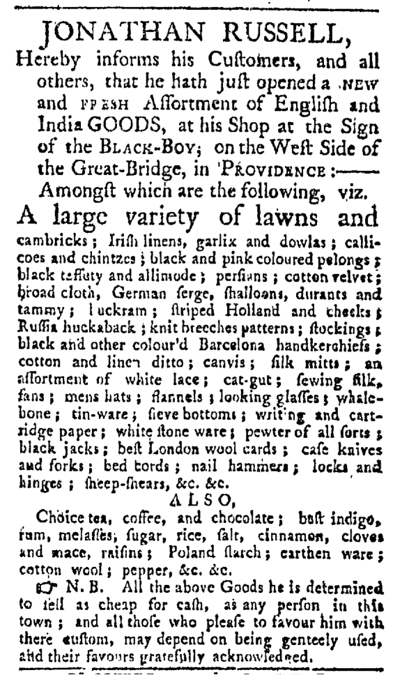 May 9 - Providence Gazette Slavery 1