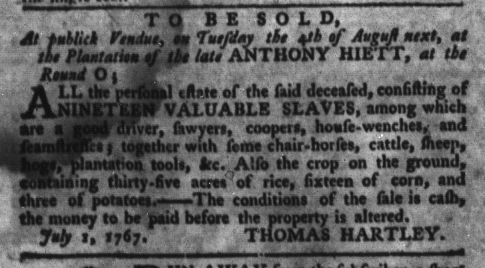 Jul 14 - South-Carolina Gazette and Country Journal Slavery 6