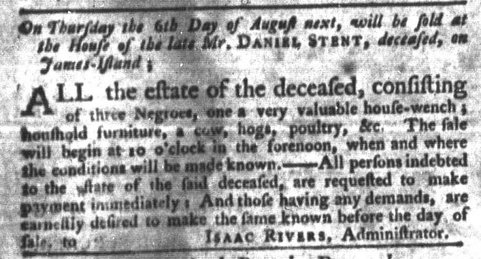 Jul 21 - South-Carolina Gazette and Country Journal Slavery 9