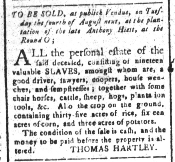 Jul 3 - South-Carolina and American General Gazette Slavery 1
